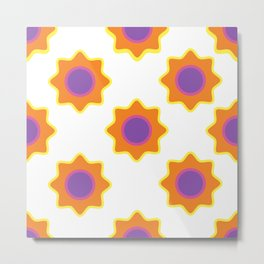 Background in the style of 60x. Stylized flowers on a white background. Metal Print