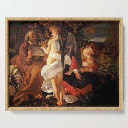 Merisi da Caravaggio - Ruhe auf der Flucht nach Ägypten Serving Tray