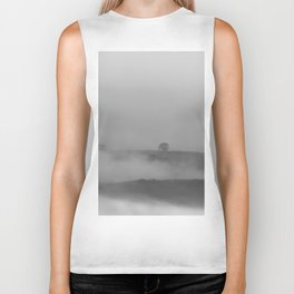 Black and white foggy landscape Biker Tank
