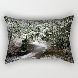 Snowy Path in The Trees Rectangular Pillow