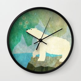 Playful Arctic Polar Bear Wall Clock