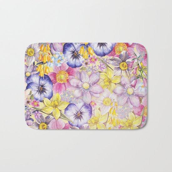 Painterly Vintage Spring Flowers Pattern - Springflower floral Bath Mat