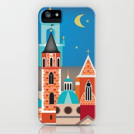 Krakow, Poland - Skyline Illustration by Loose Petals iPhone Case