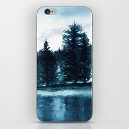 Misty lake watercolor landcape iPhone Skin