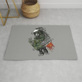 Military Fighter Jet Pilot Ejection Seat Cartoon Illustration Rug