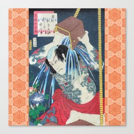 Japanese Kunisada Tattoo Warrior Print Canvas Print