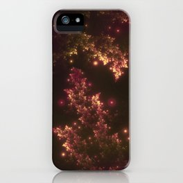 Fractal Leaves Red Glow iPhone Case