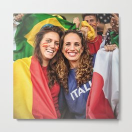 Spain and italy supporters at the stadium Metal Print