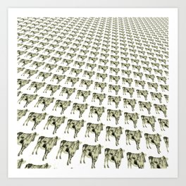 Cows in a row pattern Art Print