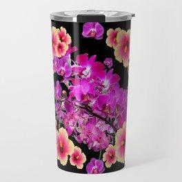 Black Design Tropical Purple Orchids Hibiscus Art Travel Mug