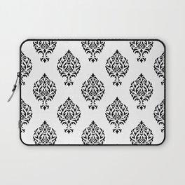 Orna Damask Pattern Black on White Laptop Sleeve