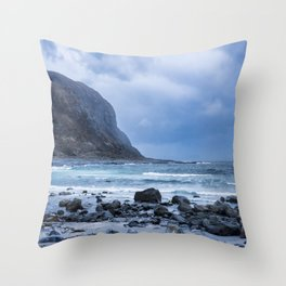 Costal scenery a rainy day Throw Pillow