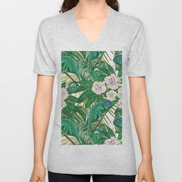 Chameleons and Camellias Unisex V-Neck
