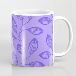 Climbing Leaves In Blue On Cold Lilac Coffee Mug