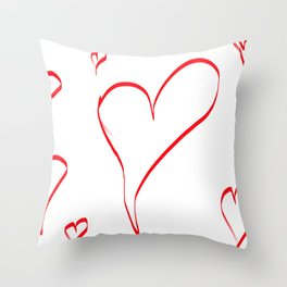 Several red hearts, love, sentimentality, romanticism Throw Pillow