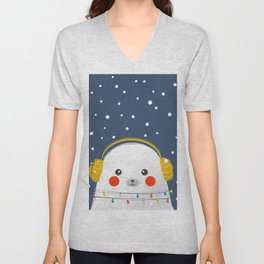 Christmas Baby Seal with fairy lights Unisex V-Neck