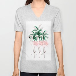 Three Flamingos Unisex V-Neck