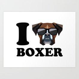 I Love Boxer modern v1 Art Print