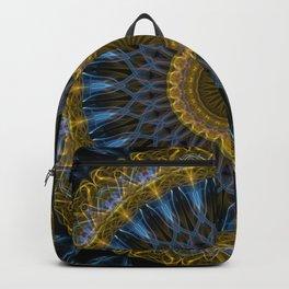 Mandala in golden and blue tones Backpack