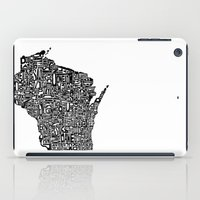 wisconsin iPad Cases featuring Typographic Wisconsin by CAPow!