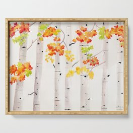 Autumn Birch Song Serving Tray