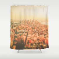 new york city Shower Curtains featuring New York City Sunset by Vivienne Gucwa