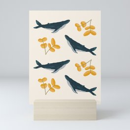 Happy Whales and Florals Pattern Mini Art Print