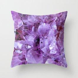 Deep Raw Amethyst Crystal  Throw Pillow