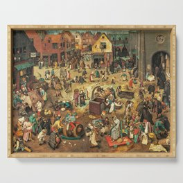Medieval Town painting Serving Tray