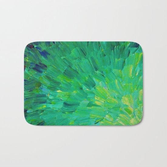SEA SCALES in GREEN - Bright Green Ocean Waves Beach Mermaid Fins Scales Abstract Acrylic Painting Bath Mat