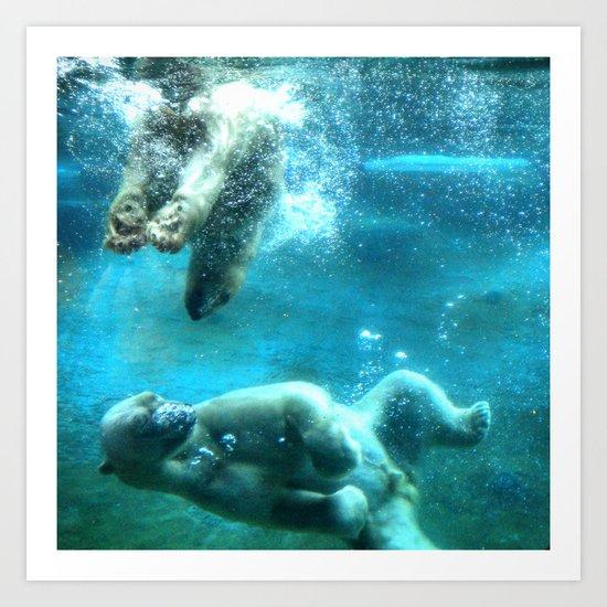 Polar Bears Swimmin Art Print