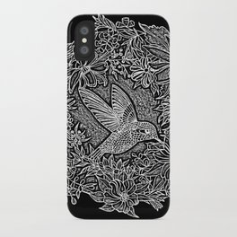 Hummingbird In Flowery Wreath Linocut iPhone Case