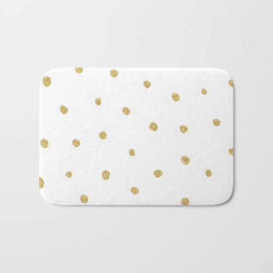 Golden touch I - Gold glitter small polkadots pattern- Confetti on #Society6 Bath Mat
