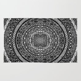 Zentangle Mandala Black and White Rug