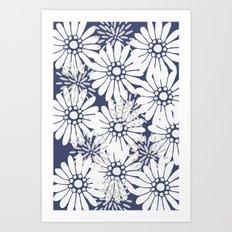 Summer Flowers Dark Blue Art Print