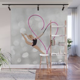 Pink Heart Gymnast Wall Mural