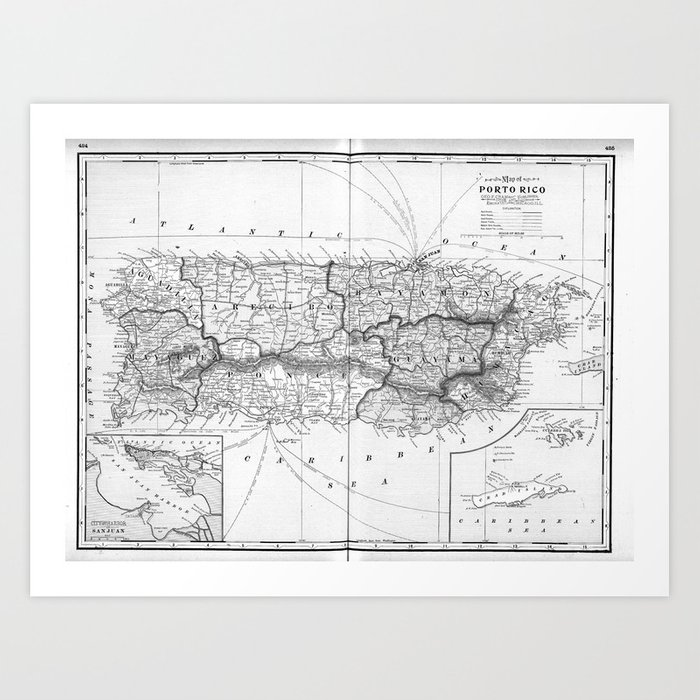 image relating to Printable Maps of Puerto Rico called Classic Map of Puerto Rico (1901) BW Artwork Print