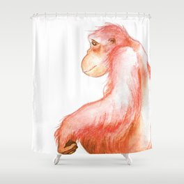 Elka, Orangutan Watercolor Shower Curtain