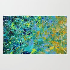 BEAUTY BENEATH THE SURFACE - Stunning Ocean River Water Nature Green Blue Teal Yellow Aqua Abstract Rug