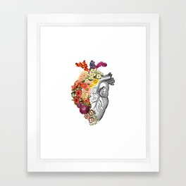 Flower Heart Spring White Framed Art Print