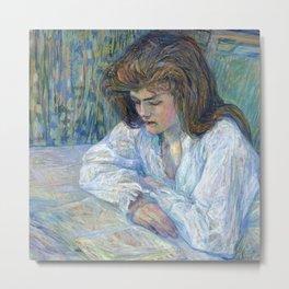 """Henri de Toulouse-Lautrec """"The Reader (La Liseuse)"""" Metal Print"""