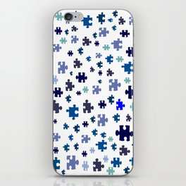 Jigsaw pieces of bluish colors. iPhone Skin