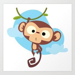 Cute Monkey, Monkey Hanging From Tree, Baby Monkey Art Print
