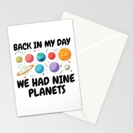 Back In My Day We Had Nine Planets | Astronomy Stationery Cards