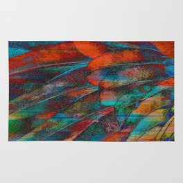 Scarlet Macaw Parrot Feather Abstract Rug