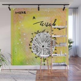Watercolor Dandelion - Make a wish Wall Mural