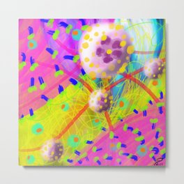 Abstract Cellular Landscapes or Donuts w Sprinkles Pop Art Metal Print