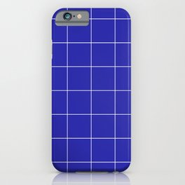 Graph Paper (White & Navy Blue Pattern) iPhone Case