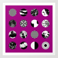 Purple Delight - Black And White Eclectic Random Designs On A Purple Background Art Print