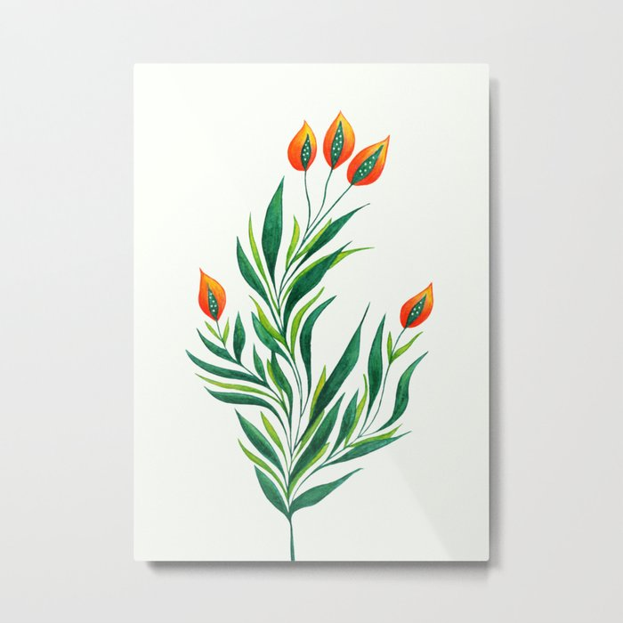 Abstract Green Plant With Orange Buds Metal Print